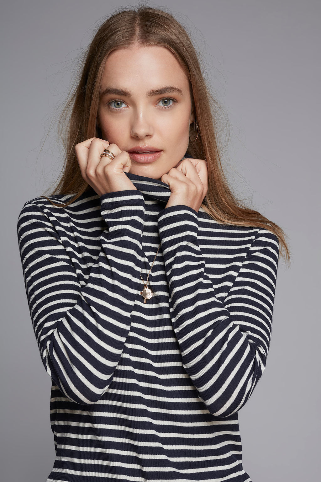 Striped Polo Neck Long Sleeve T-shirt Lavender Hill Clothing