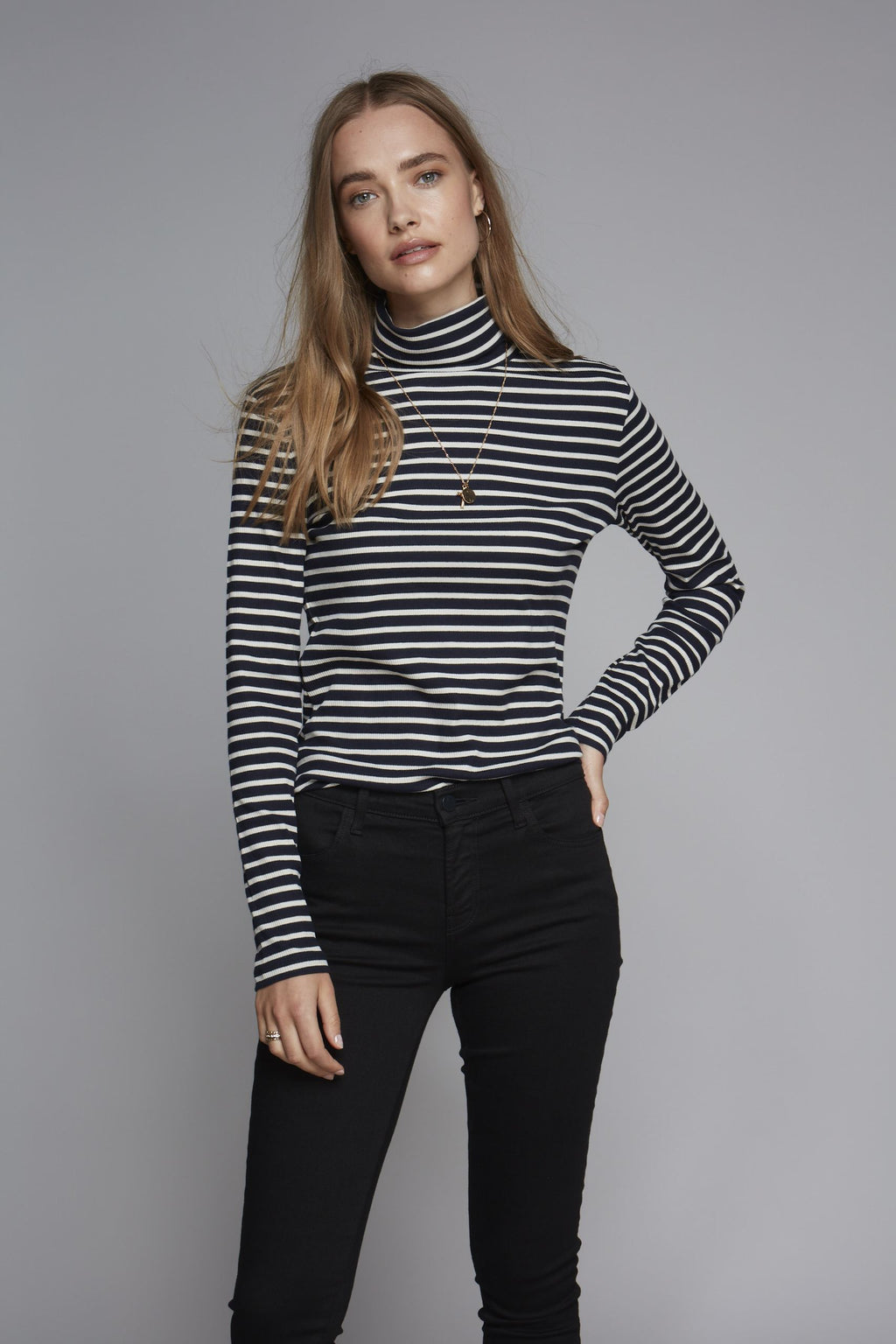 Long Sleeve Cotton Striped Polo Neck - Comfortable Polo Neck - Soft Long Sleeve