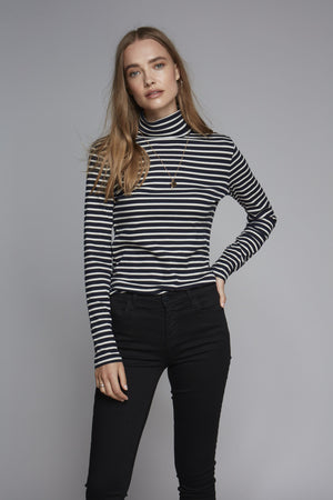 Long Sleeve Cotton Striped Polo Neck - Comfortable Polo Neck - Soft Long Sleeve Roll Neck - Flattering Striped Roll Neck