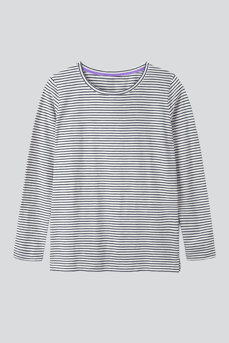 Striped Crew Neck T-shirt 3/4 Sleeve T-shirt Lavender Hill Clothing