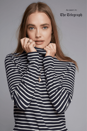 Striped Cotton Roll Neck Long Sleeve T-shirt Lavender Hill Clothing