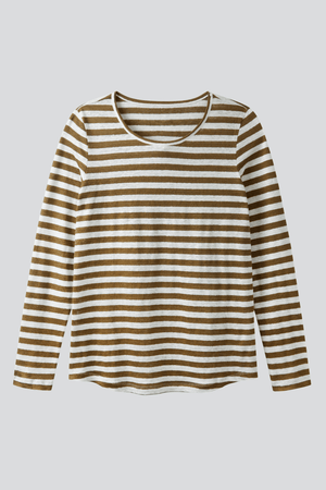 Striped Linen T-shirt Long Sleeve T-shirt Lavender Hill Clothing