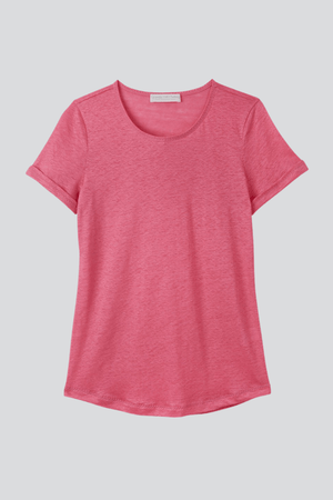 Light Weight Short Sleeve Linen T-Shirt - High Quality Linen T-Shirt - Flattering Short Sleeve T-Shirt - Pink Linen T-Shirt