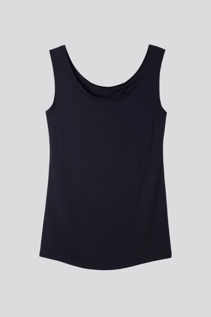 A light weight long line sleeveless vest - Made from high quality material - It is a comfortable base layer - Long Line black vest is a wardrobe staple