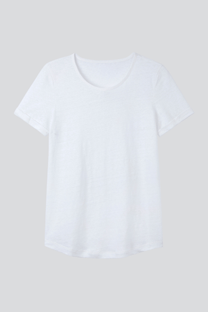 Light Weight Short Sleeve Linen T-Shirt - High Quality Linen T-Shirt - Flattering Short Sleeve T-Shirt - Womens White Linen T-Shirt
