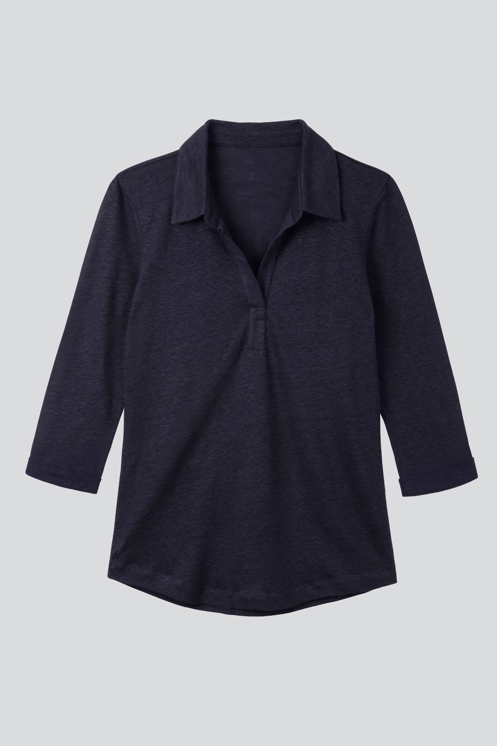 Collared Linen T-shirt 3/4 Sleeve T-shirt Lavender Hill Clothing