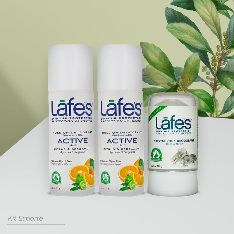 Kit ESPORTE - 2 desodorantes active roll on Lafe's - desodorante natural sem alumínio stick 120g
