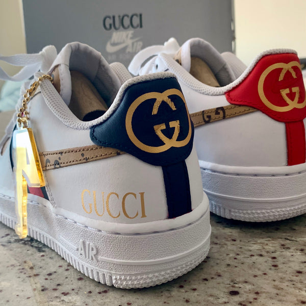 Gucci Nike Air Force 1 Custom Af1 Low Gg Artillery Closet