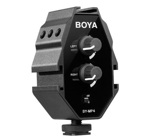BOYA BY-MP4 2-channel audio adapter, with a 3.5mm TRRS cable and a 3.5mm TRS cable