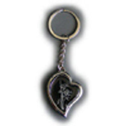 Bamboo Art Heart Black Key Ring - Photo 25 mm diameter