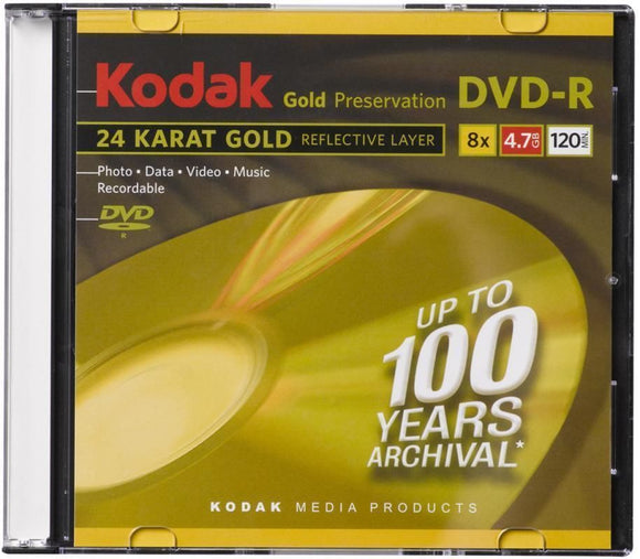KODAK GOLD ARCHIVAL DVD-R 16x, 4.7GB / 120Mins