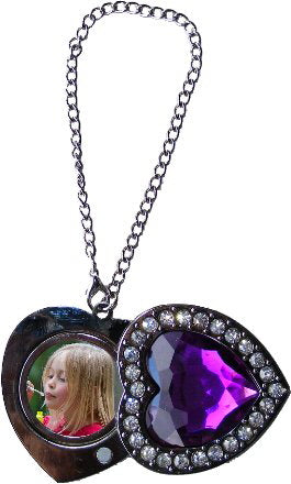Diamond Studded Purple Heart Purse Hanger