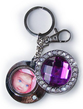 Diamond Studded Purple Key Ring - Photo 30 mm diameter