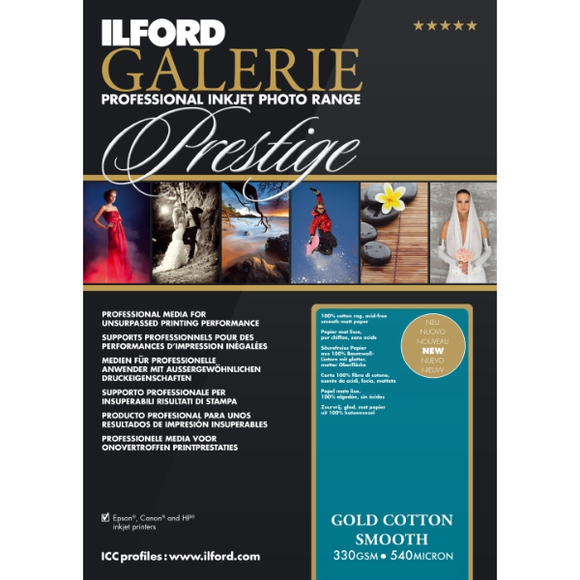Ilford Galerie Gold Cotton Smooth 330gsm Inkjet Paper