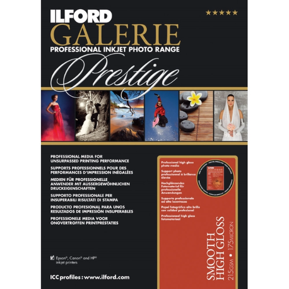 Ilford Galerie Prestige Smooth High Gloss 215gsm Inkjet Paper