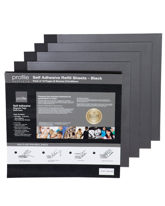 Profile Self Adhesive Black Photo Album Refills