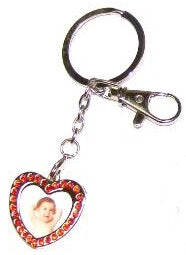 Red Diamond Studded Heart Key Ring