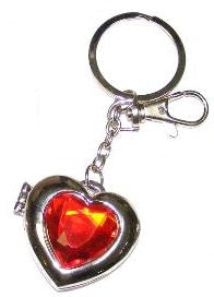 Red Glass Heart Key Ring
