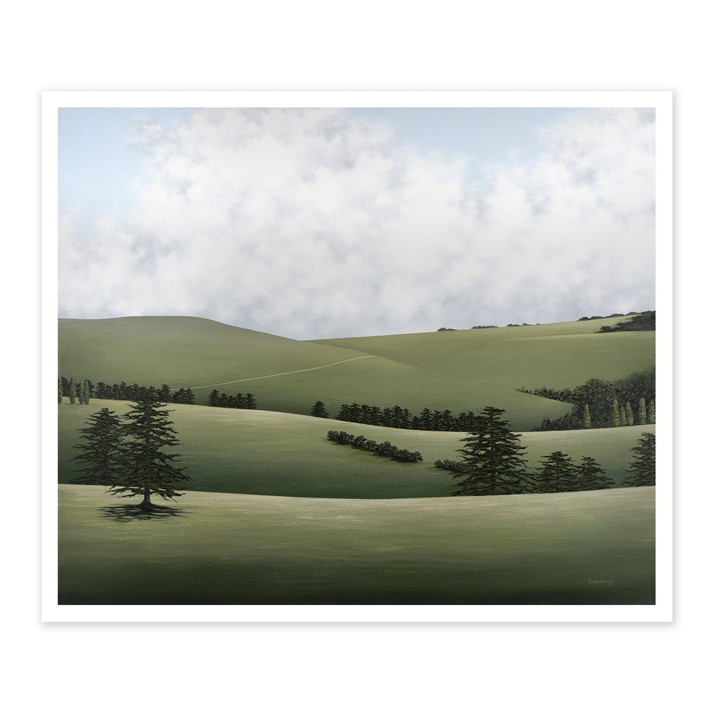 A painted landscape in greens with hills and trees and a beautifully cloudy sky.