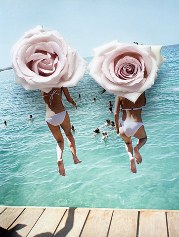 A collage artwork featuring two girls jumping off a pier at the beach. The image features them captured from behind, with large collages roses as heads.
