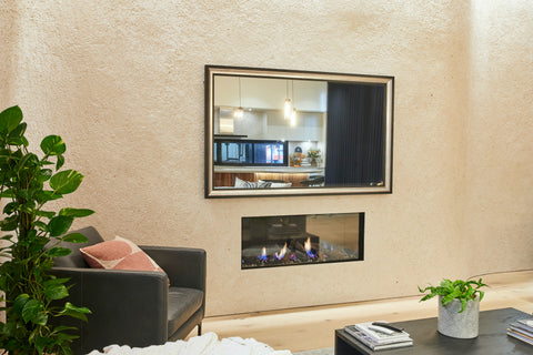 TV-Mirror with Black and Silver Leaf Frame