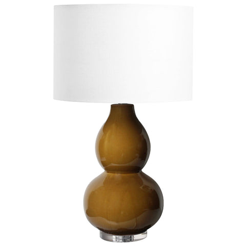 A glossy finished walnut lamp base with a white soft shade.