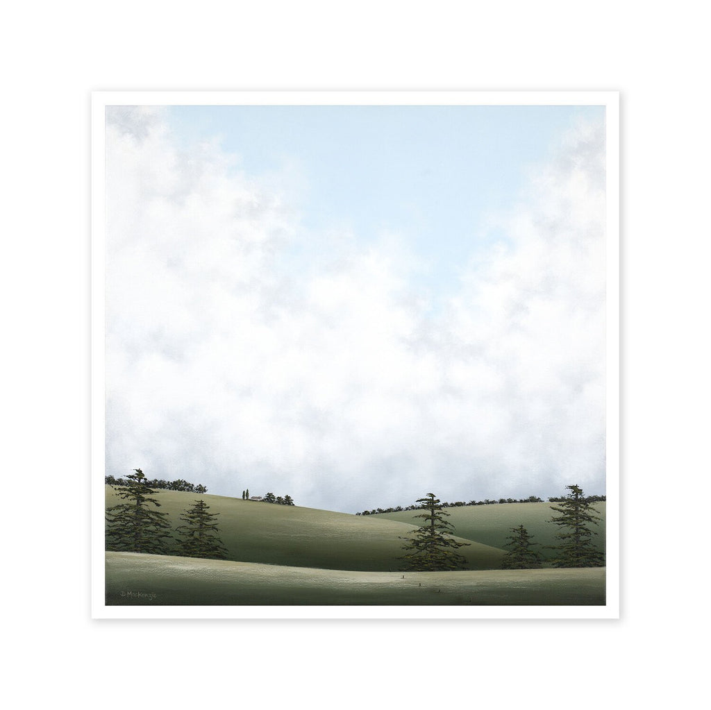 A painted landscape in greys and greens with hills, trees and a cloudy, peaceful sky.