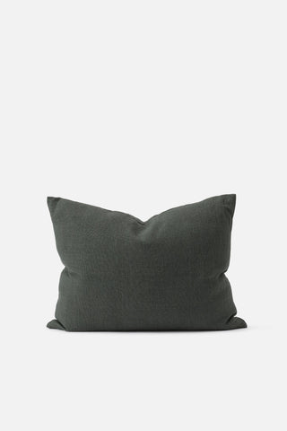 A rectangle cushion in a quality blend of linen and cotton in a deep moss green colour.