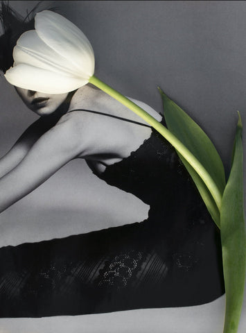 A collage artwork featuring a black and white photograph of a girl sitting, facing sideways, reaching to touch her toes out of shot. A white tulip flower is placed over the photograph, with the stem of the flower following the curve of her spine.