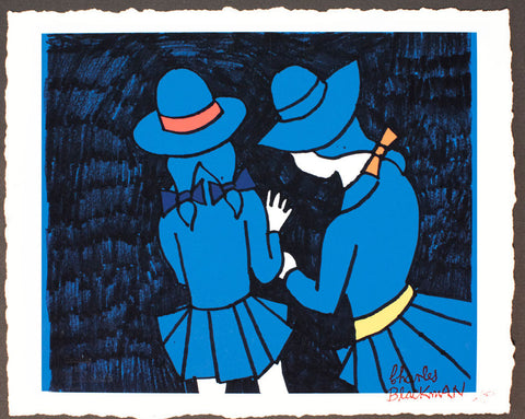 A sketch illustration by Charles Blackman of two schoolgirls, coloured in by David Bromley, forming a collaborative limited edition artwork by two Australian artists.