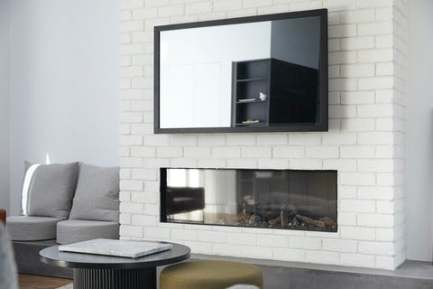 TV Mirror with Matte Black Frame