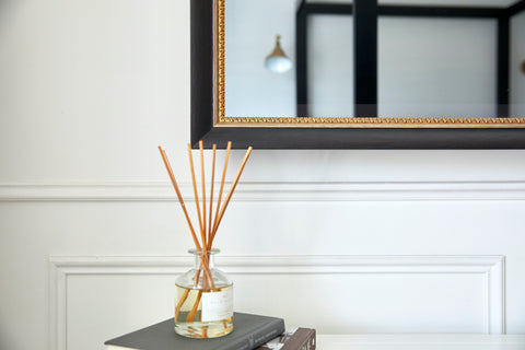 TV-Mirror with Traditional Black Distressed Frame with Patterned gold leaf inner detail