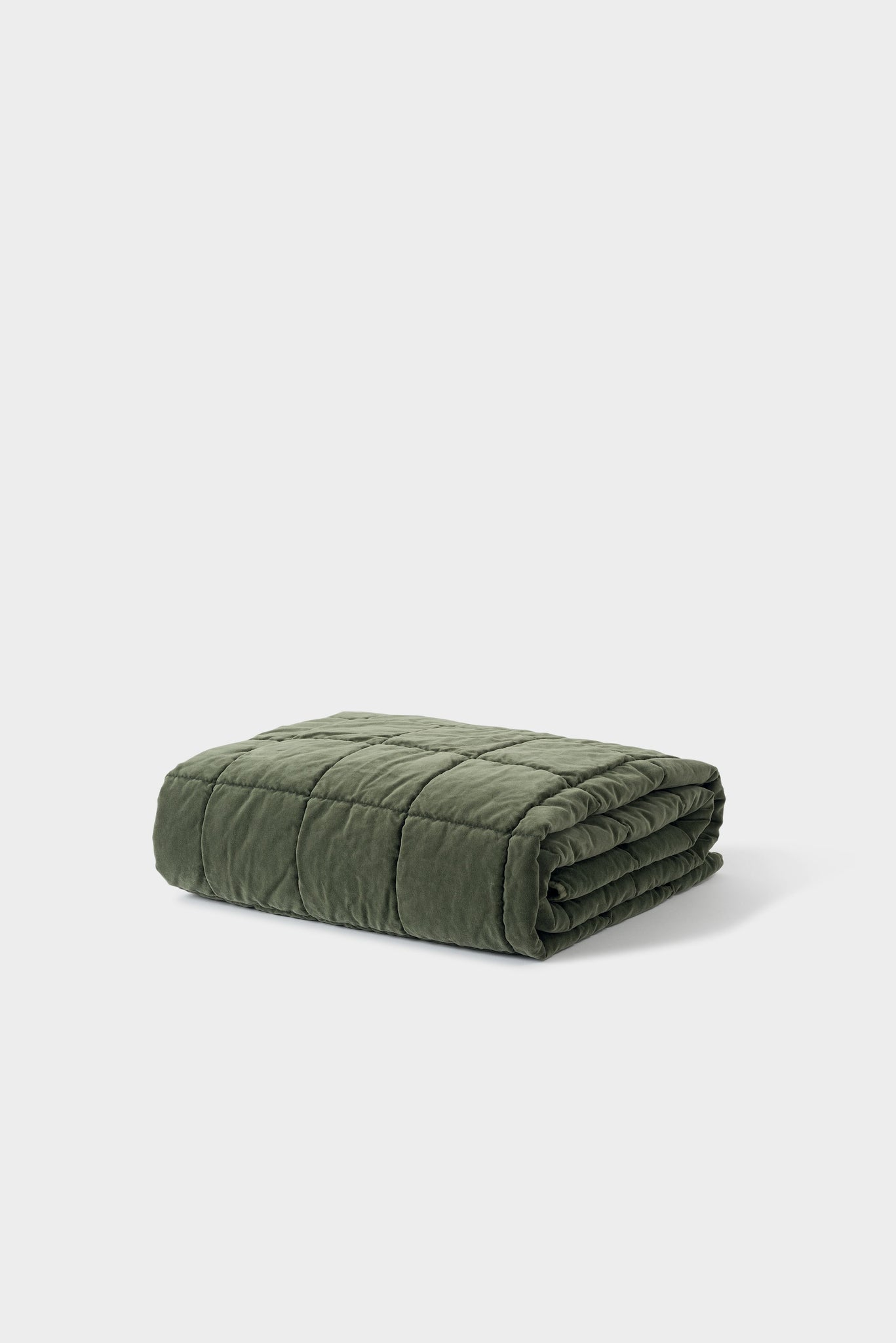 Washed Velvet Quilted Throw - Kale