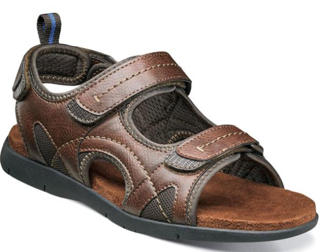 Nunn Bush=Rio Grande 3 Strap River Sandal-84746-Brown-Tan-S19,S20,S21