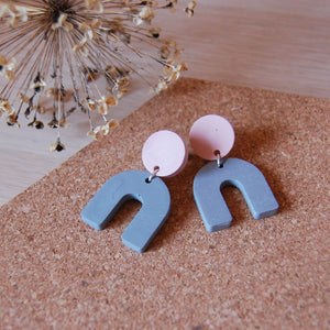 Grey & Pink Circle & Arch Studs
