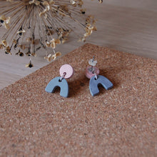 Load image into Gallery viewer, Grey & Pink Mini Arch Studs