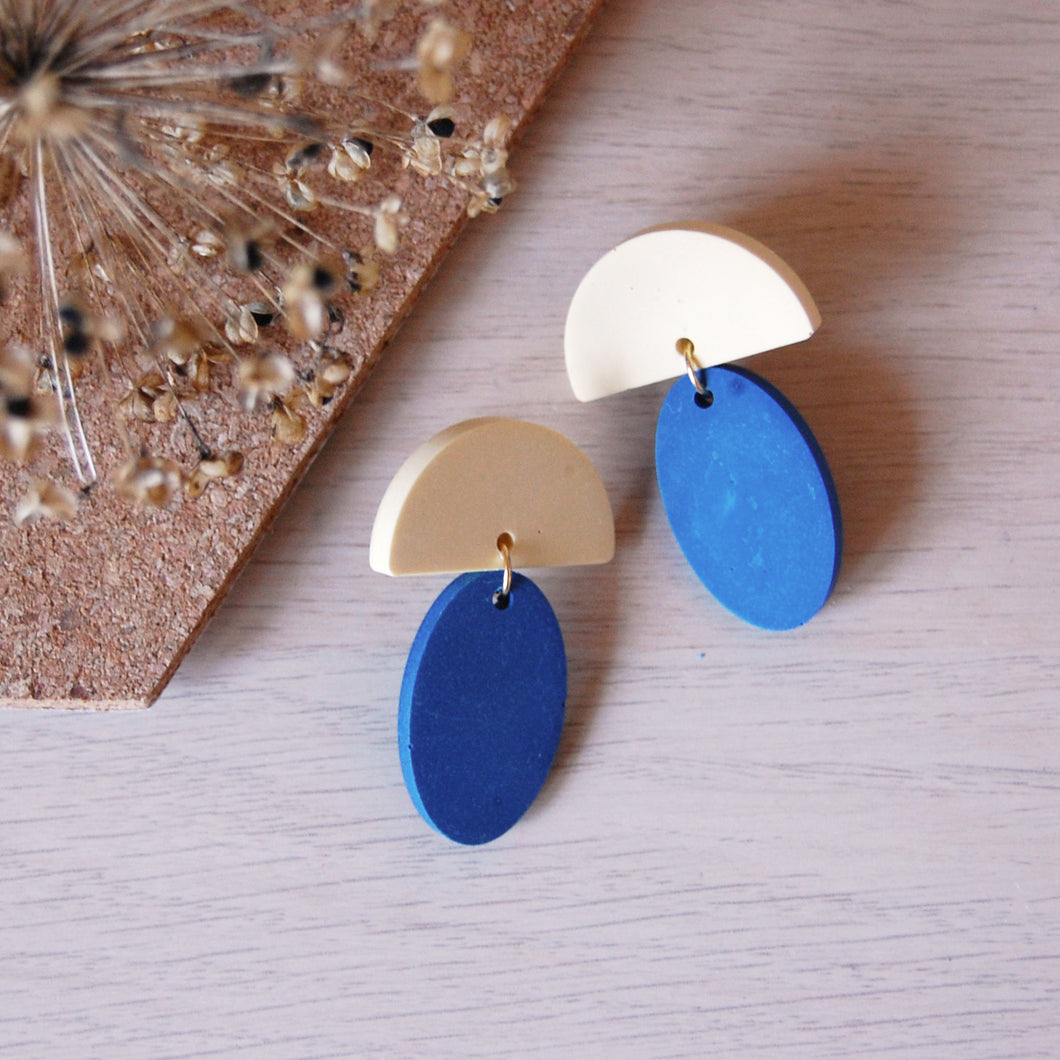 Blue & Yellow Drop Oval Studs