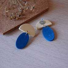 Load image into Gallery viewer, Blue & Yellow Drop Oval Studs