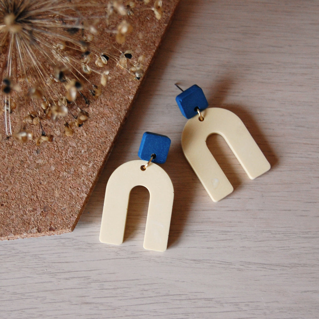 Yellow & Blue Square & Arch Studs
