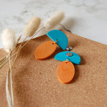 Load image into Gallery viewer, Orange & Blue Drop Oval Studs