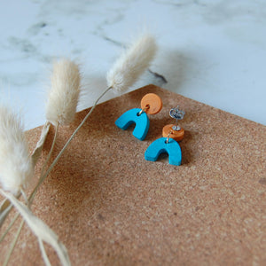 Blue & Orange Mini Arch Studs