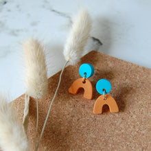 Load image into Gallery viewer, Orange & Blue Mini Arch Studs