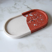Load image into Gallery viewer, White & Brick Terrazzo Oval Tray