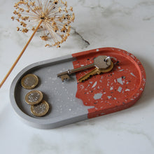 Load image into Gallery viewer, Grey & Brick Terrazzo Oval Tray