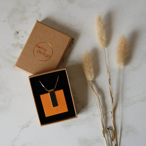 Orange Square Necklace
