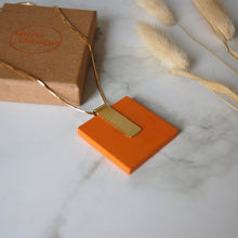 Load image into Gallery viewer, Orange Square Necklace