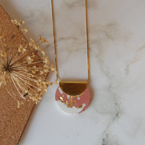Dusky Pink & Gold Circle Necklace