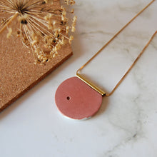Load image into Gallery viewer, Dusky Pink & Gold Circle Necklace