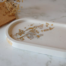 Load image into Gallery viewer, White & Gold Oval Tray