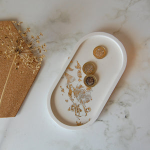White & Gold Oval Tray